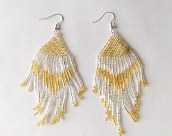 White and Yellow Boho Needle Bead work Earrings