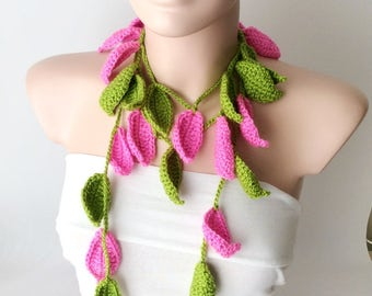 Leaf Scarf, Handmade Crochet Colorful, Flower Lariat, Scarf, Necklace