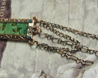 Blue Moon Manor House Framed Birds Copper Tone Chain Danlge Pendant