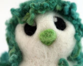 Green Hairy Bird Needle Felted White One of A Kind Bird Verne