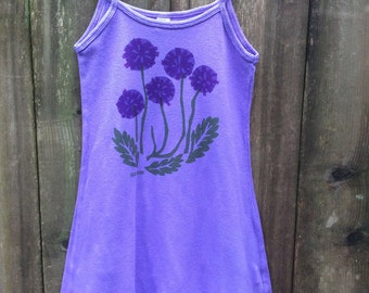 Girl's Blue Violet Spaghetti Strap Purple Dandelion Dress