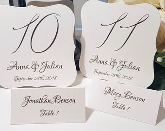 Wedding Table Numbers, Personalized Numbers, Personalised Numbers, Black and white wedding, Wedding Stationery, Table Number Holders