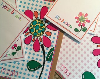 Gotta Be Me Be Yourself Self Esteem Flower Clipboard Notepad Set Gift for Her
