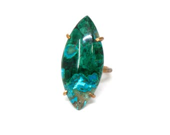 Malachite with Chrysocolla Marquise Ring