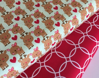 SALE fabric, Christmas fabric, Reindeer fabric bundle, Holiday fabric, polka dots, Fabric by the Yard- Fabric Bundle of 2, Choose The Cut