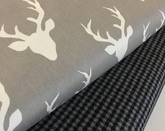 Plaid fabric, Hello Bear fabric bundle, Buck Forest Mist, Mammoth Flannel, Christmas Flannel- Fabric Bundle of 2, Choose The Cuts