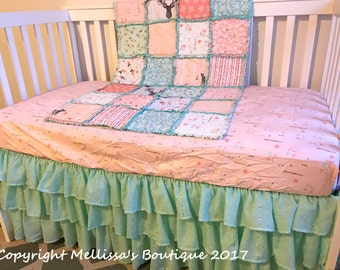 Custom READY To SHIP Designer Blush & Mint Deer Woodland Floral 3 Tier Eyelet Ruffled Crib Skirt Boutique Crib Bedding Set