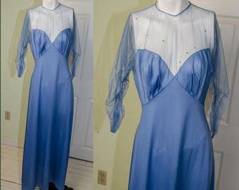 Vintage 1950's Vanity Fair Movie Star Violet Nightgown with Rhinestones