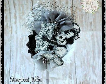 Steamboat Willie Mickey Mouse Glamour Bloom Hair Flower headband