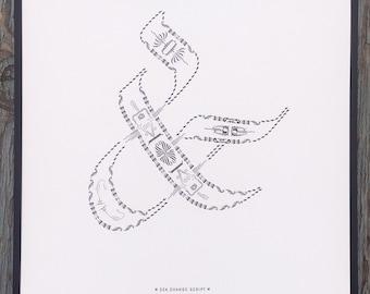 Sea Change Script letterpress ampersand print