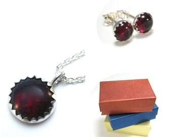 Garnet Jewelry Set with Garnet Studs and Garnet Necklace, Dark Red Gemstone Studs Necklace Set