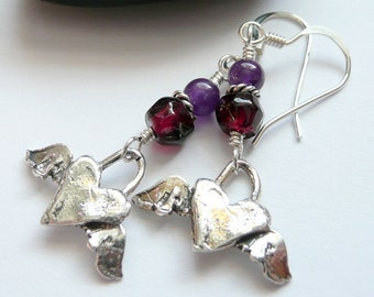 Artisan Sterling Silver Winged Hearts Amethyst Garnet OOAK Valentines Love Fun Funky Boho Hippie Festival Gift for Her Earrings