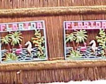 Florida Souvenir Pin 1940s Hand Painted Flamingo Sea Horse, Jan Carlin Design