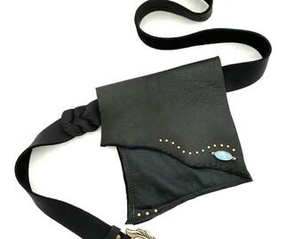 Black Leather Hip Bag Shi Studio  Pocket Belt