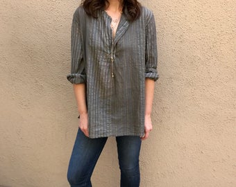Cotton voile shirt in taupe with mettalic thread