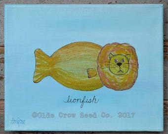 Whimsical Lion fish Painting 8x10 Original Nautical Folk Art Lionfish