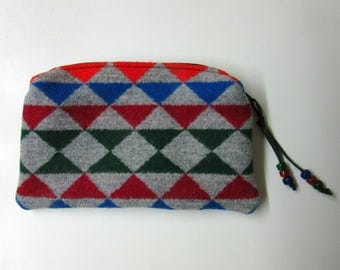 Wool Zippered Pouch Purse Organizer Cosmetic Bag Clutch Accessory Bag Colorful Print Blanket Wool from Pendleton Oregon