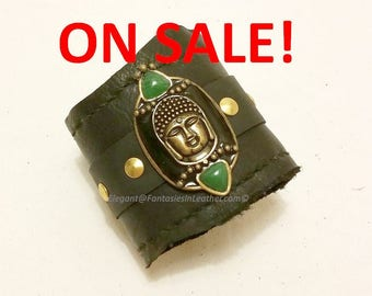 Buddha With Jade - Wrist Band Cuff - Black Leather (JWL132)