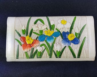 Vintage Floral Wallet Purse 1950's - 1960's Cream Beige with Multicolored Flowers