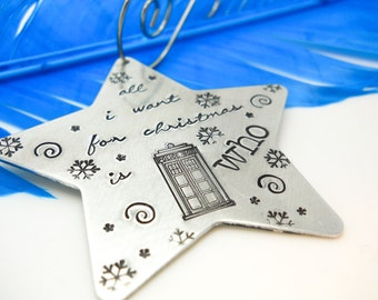 Doctor Who Personalized ornament, Christmas Star, Christmas Ornament, Star Ornament