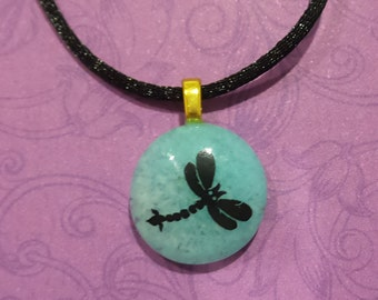 Dragonfly Necklace, Tiny Fused Glass Pendant, Ready to Ship, Aqua Blue Fused Glass Jewelry, Gifts Under 20 - Itty Bitty Dragonfly  -6