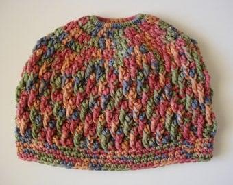 Floral Tones Messy Bun Beanie Ponytail Hat READY TO SHIP!