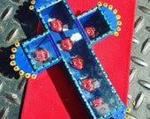 Hand Painted Collaged Tin and Glass Day of the Dead Devil Mexican Cross
