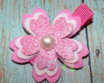 Hot Pink Glitter Cherry Blossom Hair Clip, Cherry Blossom Hair Clip, Felt Flower Hair Clip, Flower Hair Clip, Girls Hair Clip, Clippies