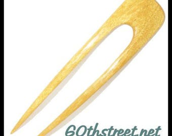 2 Prong 5 1/2 inch Ali Style Hair Fork made from Yellowheart Natural Wood - 6063AL