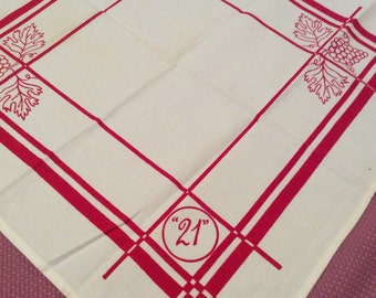 "Vintage '21' Kitchen Towel or Napkin Red White Grapes 19"" Square T25"