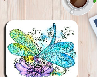 Dragonfly Gem Watercolor Art Print Mouse Pad