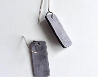 Grey geometric earrings, shade and shadow, art jewelry