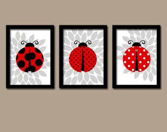 LADYBUG Wall Art, Lady bug Nursery Baby Girl Nursery Wall Art, Girl Bedroom Pictures, Girl Nursery Artwork Set of 3 Canvas or Prints