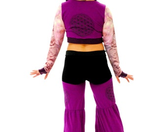 Flower of Life Pants Plum Purple Sacred Geometry Flow Pants