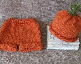 Carrot Hat and Matching Short Pants/Photo Prop/0-3 Months/Easter/Spring Veggies/Easter Outfit/Carrot Patch/Ready to Ship