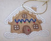 Gingerbread house Christmas ornament machine embroidered lace