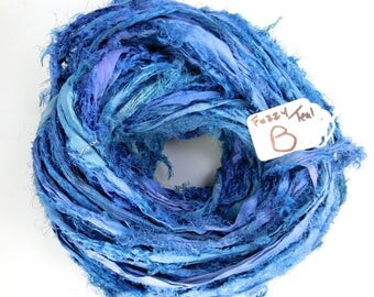 Silk Sari Ribbon, Sari Silk ribbon, Silk Sari Ribbon, Royal Blue ribbon, Fuzzy ribbon, embellishment, knitting supply, weaving supply