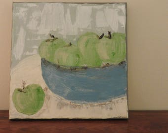apples in a bowl painting - an Acrylic on Canvas Painting