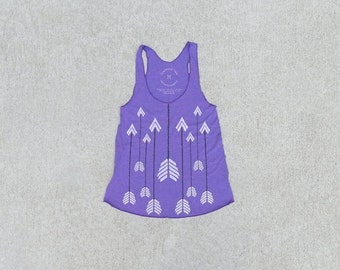 SALE The Headhunter - women's tank top, graphic tank women, boho arrow print on heather purple, gift for her, racer back tank - CLOSEOUT