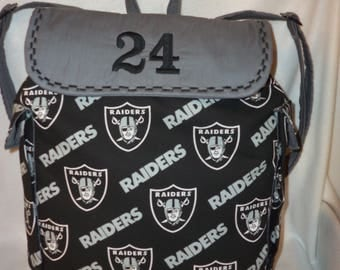 Oakland Raiders 3 sizes back pack bag school book bag birthday College dads moms kids add name free also great for a diaper bag