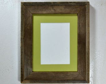 Picture frame gallery style 5 x 7 light green mat in 8x10 frame from rustic reclaimed wood ready to ship free shipping