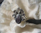 Pretty Multi Stone Herkimer Diamond, Galena & Quartz Ring  Size 8.25