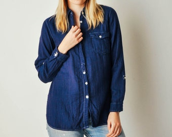Vintage Navy Indigo Cotton Button Down Shirt