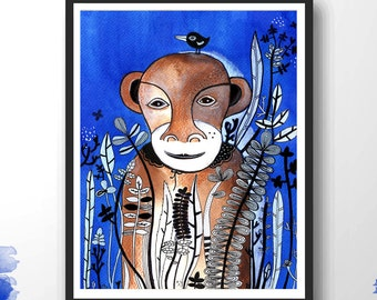Monkey Painting, Animal Art, Acrylic Painting, Monkey Illustration, Wall Decor, Kids Room - I am your Sister