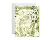 WELCOME LITTLE ONE Marble Greeting Card Green / New Baby / New Puppy / Adoption - Single Card