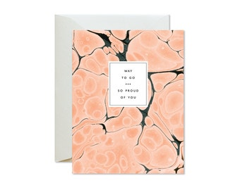WAY TO GO So Proud of You Coral Indigo Agate Marble Greeting Card / Congratulations / Victory