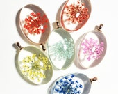 4 pcs of oval glass pendant with flower 42x25mm, 4 assorted color, inner flower glass pendant, rose gold pendant