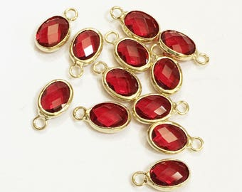 6 pcs of  Glass faceted oval with  brass setting 12x7mm  Red ,  glass charm, bulk glass charm