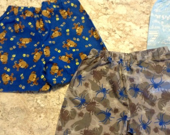 Boy's 4 pair of lounge shorts SPIDERS DOGS PIRATES Monkeys Pajama Pack Children's Size 10