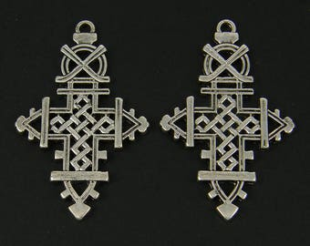 Ethiopian Style Cross Pendant Ethnic Antique Silver African Tribal Earring Findings Jewelry Component |S5-14|2